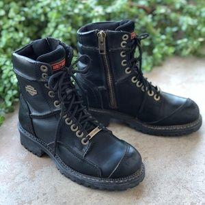 Harley Davidson Black Lace Up Combat Moto Boots
